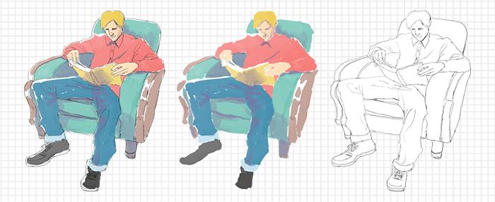 椅子に座って読書する青年フリーイラスト