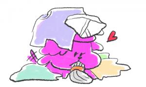 トイプードル洗濯物好き