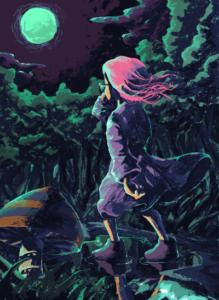 月夜の森を散歩する少女リメイク