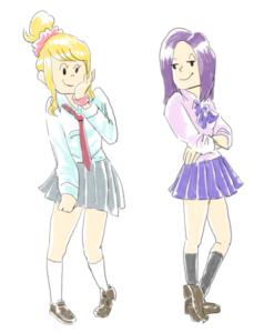 女子高生二人組みイラストカット