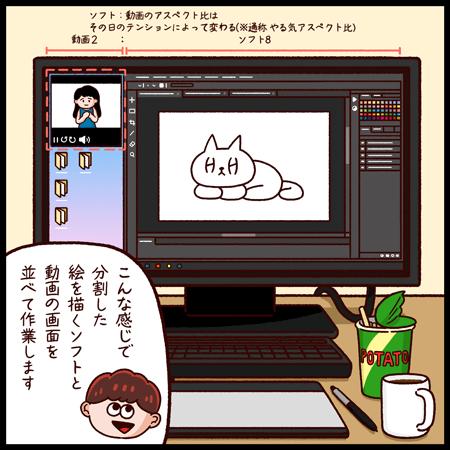イラストレーター4コマ漫画_ながら仕事_2